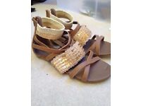 Size 4 brown & cream gladiator style sandals with sequins