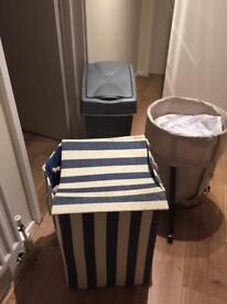 Laundry baskets and a waste bin