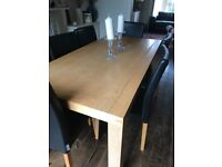 Solid oak habitat table and 6 matching chairs Great condion