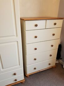 2+4 Deep chest of drawers cream and pine.