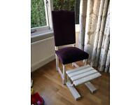 Purple Velvet Shabby Chic chair and footstool