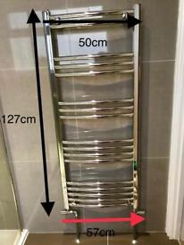 Chrome towel rail 127cm tall 57cm wide