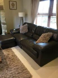 Leather sofa and large footstool