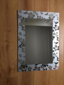 Silver Metal Blind & Frosted Glass Mirror