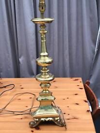 Large heavy brass lamp