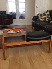 Vintage retro mid century teak and formica telephone table/seat