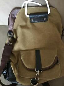 Khaki canvas ruck sack