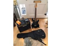 Electric Guitar Bundle with Tuner, Bag, Stand, Amp, Distortion Pedal and Cables