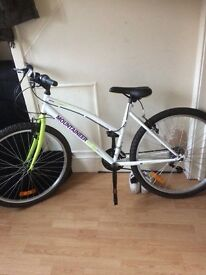 26 inch, 18 speed, white/green, 18 inch frame, excellent condition,