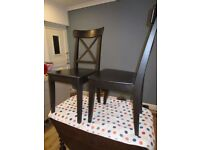 Ikea dark wood chairs, set of six