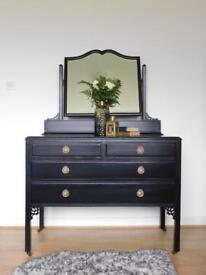 A beautiful black hand painted vintage dressing table / Chest Of Drawers
