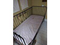 IKEA DAY BED AND MATTRESS - Iron effect, in 'as new' condition