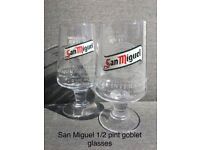 San Miguel half pint goblet glasses for sale