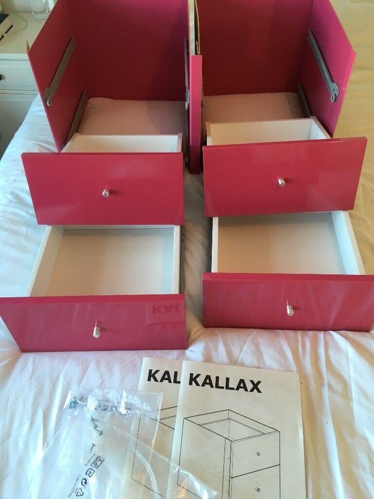 ikea expedit kallax drawers 2 pairs 2x2 of hi gloss. Black Bedroom Furniture Sets. Home Design Ideas