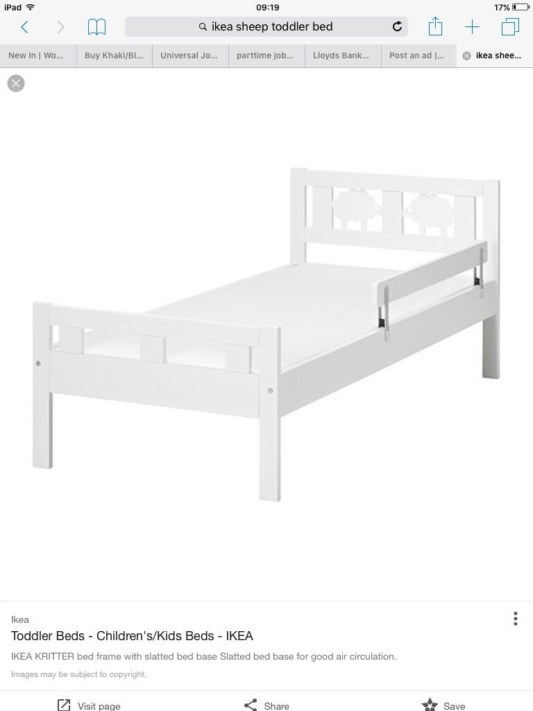 Ikea toddler bed white - Used White Sheep Ikea Toddler Bed