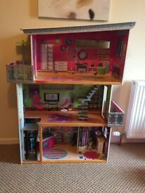 Tall dolls house with furniture