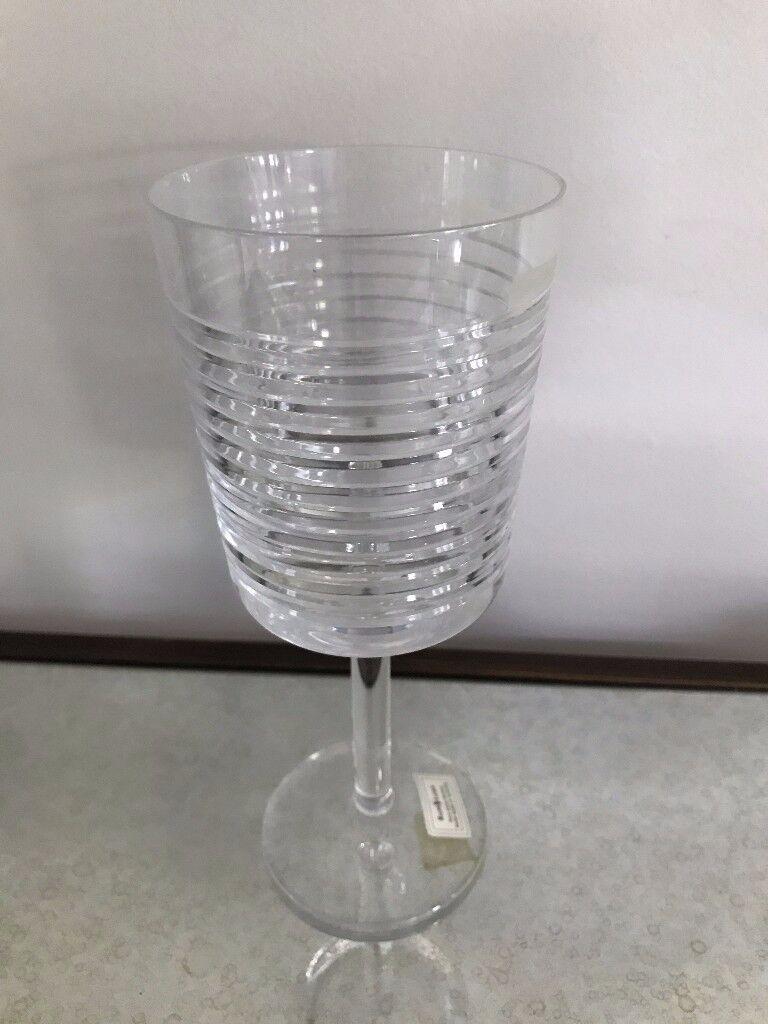 Homeware/Glasswear. Ralph Lauren hand cut Lead Crystal Wine Glasses x 8 with beveled grooves