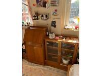 Authentic Vintage Oak Bureau Desk + Bookcase