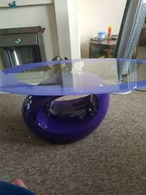 Stunning glass purple coffee table