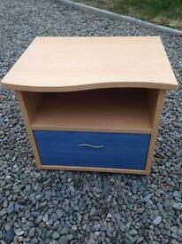 Lovely bedside table. Blue drawer £5