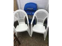 4 white plastic garden chairs £25 free delivery.
