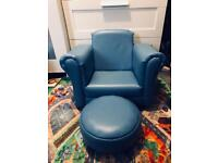 Kids Blue leather rocking chair