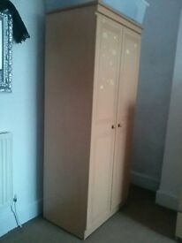 Pine coloured double wardrobe inc delivery
