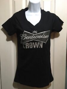 Budweiser Crown New Black V Neck T Shirt In Size S M L