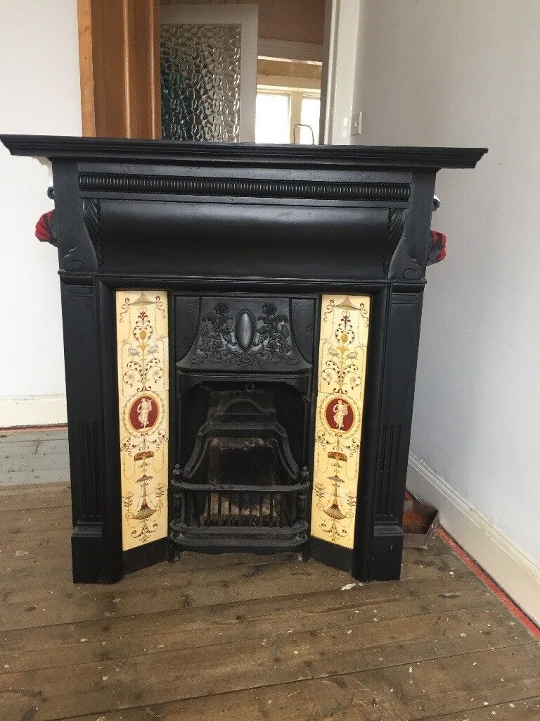 Beautiful original cast iron fire place