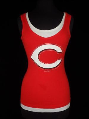 Womens Cincinnati Reds Tank Top Medium Red Classic Logo Sleeveless Jewel -