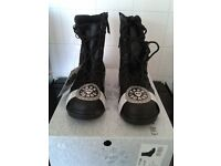 work boots, womens, NEW, BOXED, high leg, black leather safety boots size4 steel toe cap waterproof.