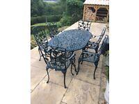 Garden Furniture Set - Metal - Green - 6 Chairs & Table