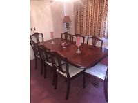 Beautiful Traditional Mahogany Dining Table, 8 Chairs and Sideboard
