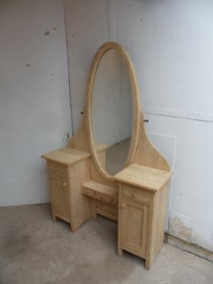 An Amazing 6 Ft Antique/Old Pine Oval Dressing Table/Cheval Mirror to Wax/Paint