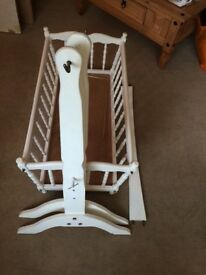 Lovely white wooden baby's crib