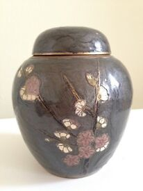 Decorative metal container/vase with lid