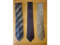 Marks & Spencer Autograph Black Stripe, Purple & Taupe Pattern Silk Ties As New Condition £3 Each