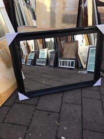 """black wooden swept framed mirror 42""""x30"""""""