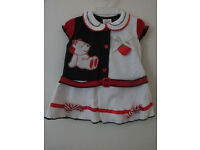 Brand New Girls Dress Navy blue White Strawberry
