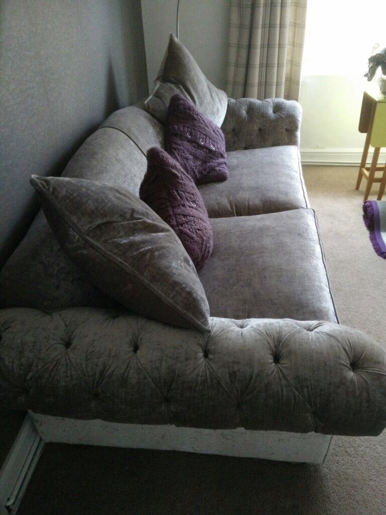Extra Grand Sized Loch Leven Velvet Dfs Sofa With Ter Cushions