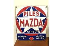 Original Vintage French Mazda Enamel Sign Car Retro Salvage French Plaque Advertising