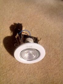 New white Acel mains downlights complete with 3.5w COB LED bulb (345lms) - 9 fixed and 1 tilting 1
