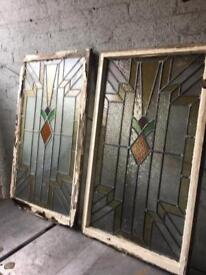 pair of large antique stained / coloured glass windows £180 many others available