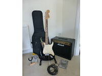 Electric guitar, case, amp, stands and accessories