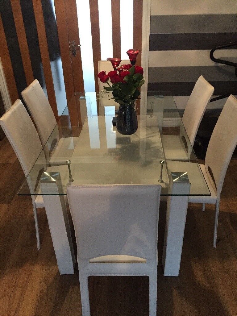 Glass Dining Table 6 Chairs