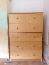 Ikea Malm beech veneer chest of drawers