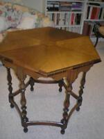 Walnut inlaid Hexagonal table (See my other adds)