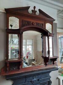 Victorian antique overmantal mirror huge