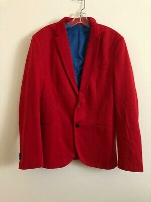 Zara Mens Red two Button suit separate Blazer Jacket Fully blue Lined