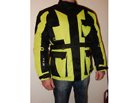 GTH High-visibility Cordura Waterproof Motorbike Jacket Size L Motorcycle protection Black